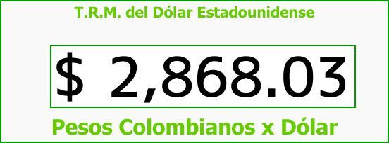 T.R.M. del Dólar para hoy Miércoles 17 de Enero de 2018