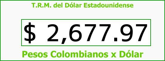T.R.M. del Dólar para hoy Miércoles 18 de Marzo de 2015