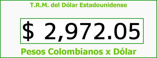 T.R.M. del Dólar para hoy Miércoles 20 de Diciembre de 2017