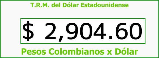 T.R.M. del Dólar para hoy Miércoles 20 de Septiembre de 2017