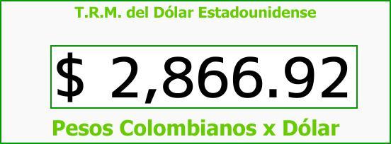 T.R.M. del Dólar para hoy Miércoles 21 de Marzo de 2018