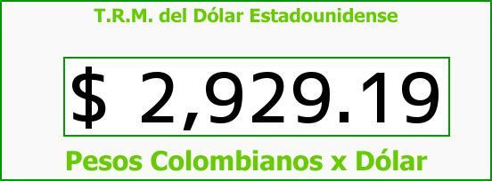 T.R.M. del Dólar para hoy Miércoles 21 de Octubre de 2015