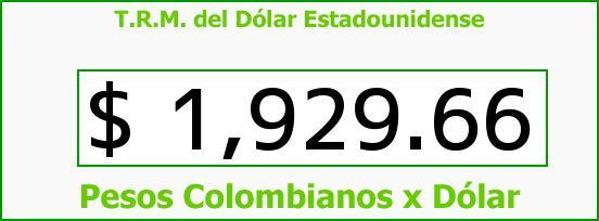 T.R.M. del Dólar para hoy Miércoles 23 de Abril de 2014