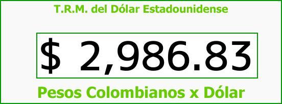 T.R.M. del Dólar para hoy Miércoles 23 de Agosto de 2017