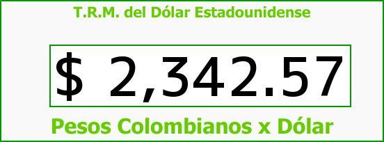 T.R.M. del Dólar para hoy Miércoles 24 de Diciembre de 2014