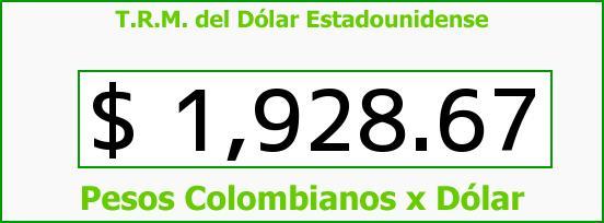 T.R.M. del Dólar para hoy Miércoles 27 de Agosto de 2014