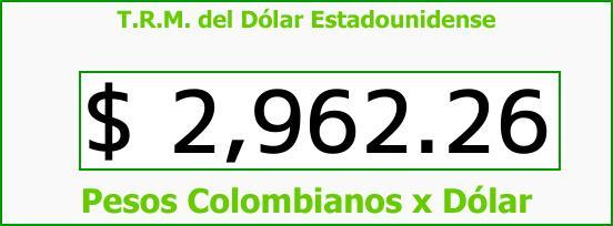 T.R.M. del Dólar para hoy Miércoles 27 de Diciembre de 2017