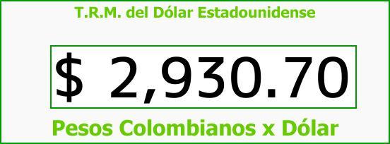 T.R.M. del Dólar para hoy Miércoles 27 de Septiembre de 2017