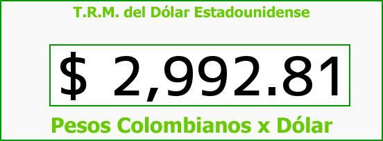 T.R.M. del Dólar para hoy Miércoles 28 de Diciembre de 2016