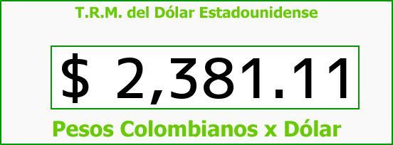 T.R.M. del Dólar para hoy Miércoles 28 de Enero de 2015