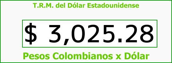 T.R.M. del Dólar para hoy Miércoles 28 de Junio de 2017
