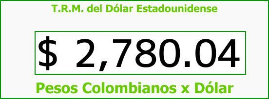 T.R.M. del Dólar para hoy Miércoles 28 de Marzo de 2018
