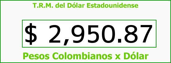 T.R.M. del Dólar para hoy Miércoles 28 de Octubre de 2015
