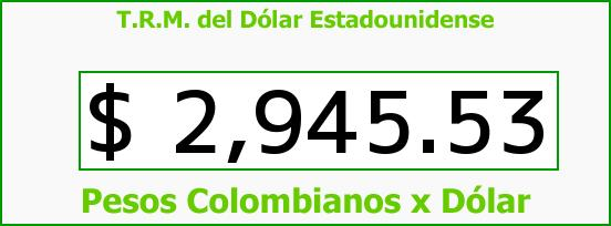 T.R.M. del Dólar para hoy Miércoles 3 de Mayo de 2017