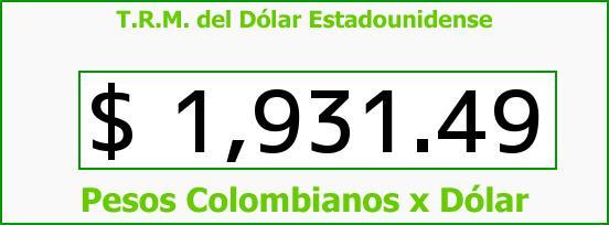 T.R.M. del Dólar para hoy Miércoles 3 de Septiembre de 2014