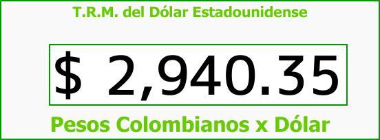 T.R.M. del Dólar para hoy Miércoles 30 de Agosto de 2017