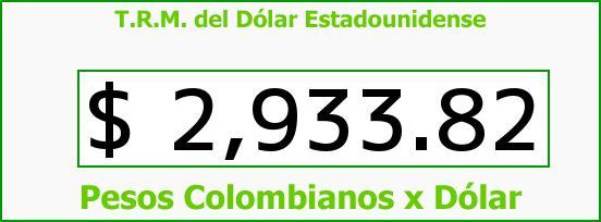 T.R.M. del Dólar para hoy Miércoles 31 de Agosto de 2016