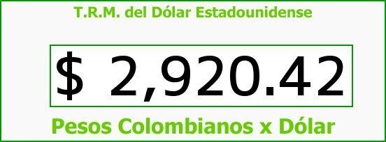 T.R.M. del Dólar para hoy Miércoles 31 de Mayo de 2017