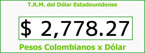 T.R.M. del Dólar para hoy Miércoles 4 de Abril de 2018