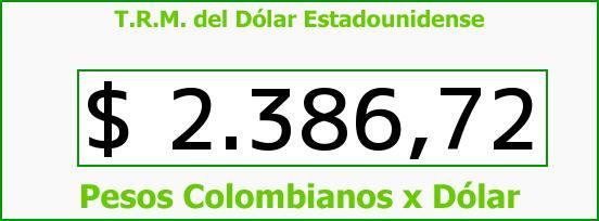 T.R.M. del Dólar para hoy Miércoles 6 de Mayo de 2015