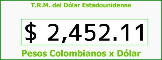 T.R.M. del Dólar para hoy Miércoles 7 de Enero de 2015