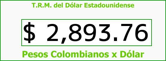 T.R.M. del Dólar para hoy Miércoles 7 de Junio de 2017