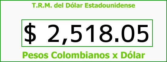 T.R.M. del Dólar para hoy Miércoles 8 de Abril de 2015