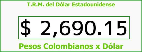 T.R.M. del Dólar para hoy Miércoles 8 de Julio de 2015