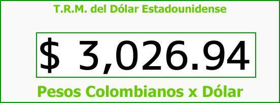 T.R.M. del Dólar para hoy Miércoles 8 de Noviembre de 2017