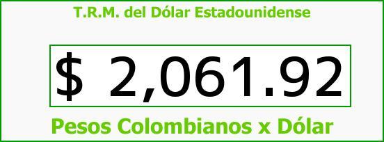 T.R.M. del Dólar para hoy Sábado 1 de Noviembre de 2014