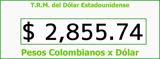 T.R.M. del Dólar para hoy Sábado 10 de Octubre de 2015
