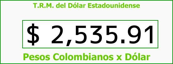 T.R.M. del Dólar para hoy Sábado 13 de Junio de 2015