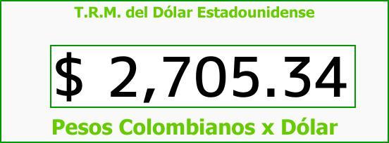 T.R.M. del Dólar para hoy Sábado 14 de Abril de 2018