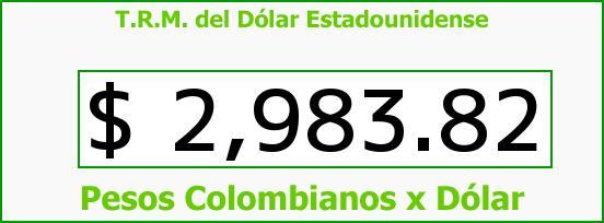 T.R.M. del Dólar para hoy Sábado 14 de Mayo de 2016