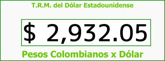 T.R.M. del Dólar para hoy Sábado 14 de Octubre de 2017