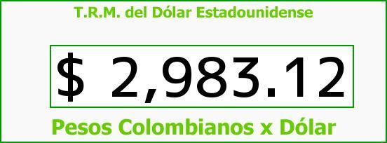 T.R.M. del Dólar para hoy Sábado 15 de Agosto de 2015