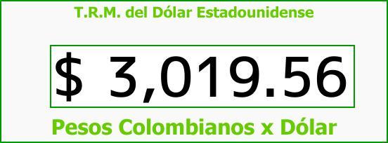 T.R.M. del Dólar para hoy Sábado 15 de Julio de 2017
