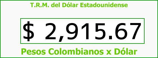 T.R.M. del Dólar para hoy Sábado 15 de Octubre de 2016