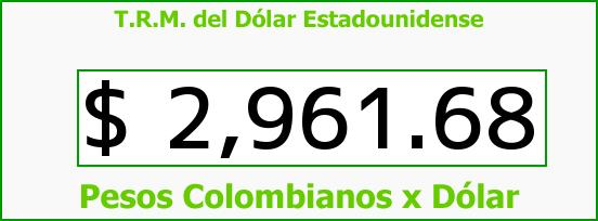 T.R.M. del Dólar para hoy Sábado 17 de Junio de 2017