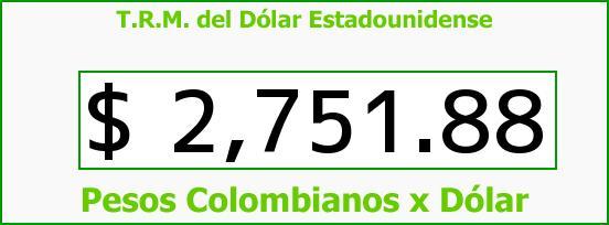 T.R.M. del Dólar para hoy Sábado 18 de Julio de 2015