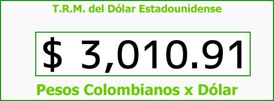 T.R.M. del Dólar para hoy Sábado 18 de Junio de 2016