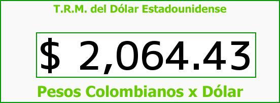 T.R.M. del Dólar para hoy Sábado 18 de Octubre de 2014