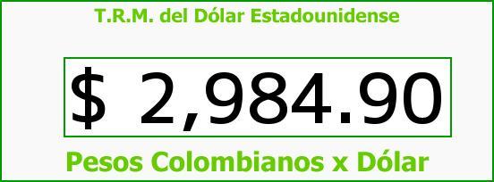 T.R.M. del Dólar para hoy Sábado 19 de Septiembre de 2015
