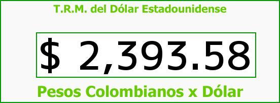 T.R.M. del Dólar para hoy Sábado 2 de Mayo de 2015