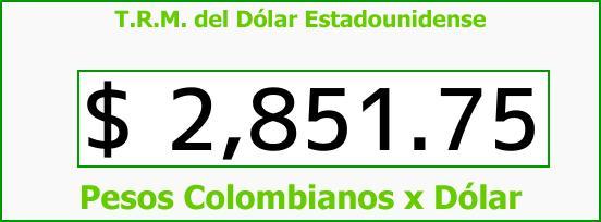 T.R.M. del Dólar para hoy Sábado 20 de Enero de 2018