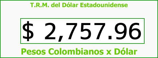 T.R.M. del Dólar para hoy Sábado 21 de Abril de 2018