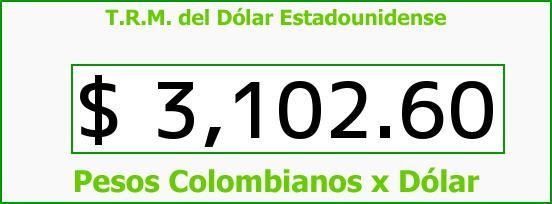 T.R.M. del Dólar para hoy Sábado 22 de Agosto de 2015