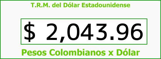 T.R.M. del Dólar para hoy Sábado 22 de Febrero de 2014