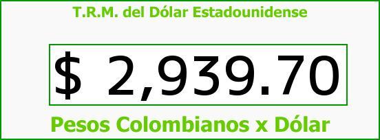 T.R.M. del Dólar para hoy Sábado 23 de Abril de 2016