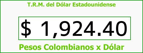 T.R.M. del Dólar para hoy Sábado 23 de Agosto de 2014